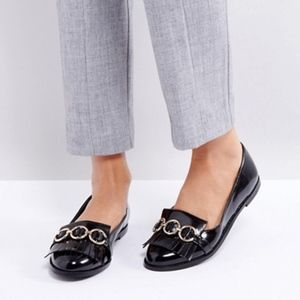 ASOS Black Fringe Loafers